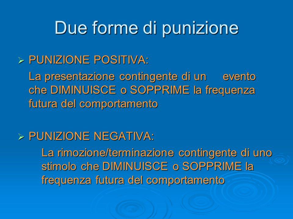 Due forme di punizione PUNIZIONE POSITIVA:
