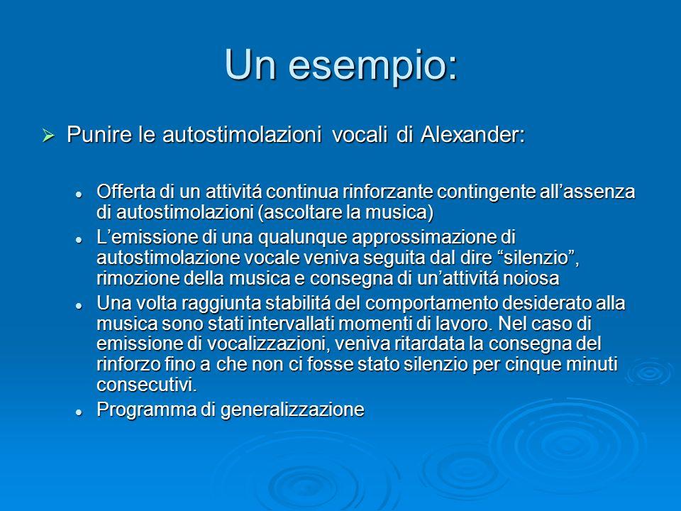 Un esempio: Punire le autostimolazioni vocali di Alexander: