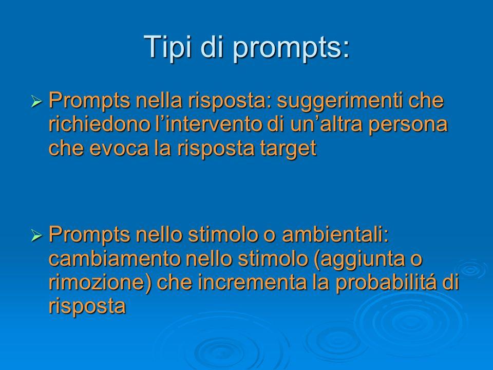 Tipi di prompts: Prompts nella risposta: suggerimenti che richiedono l'intervento di un'altra persona che evoca la risposta target.