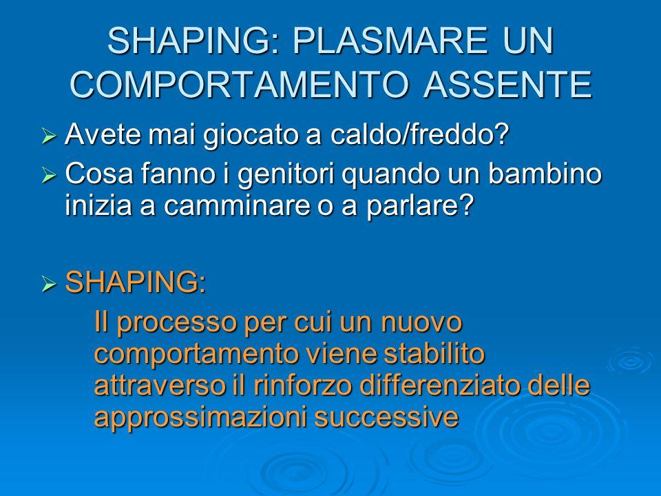SHAPING: PLASMARE UN COMPORTAMENTO ASSENTE
