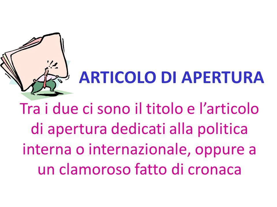 ARTICOLO DI APERTURA