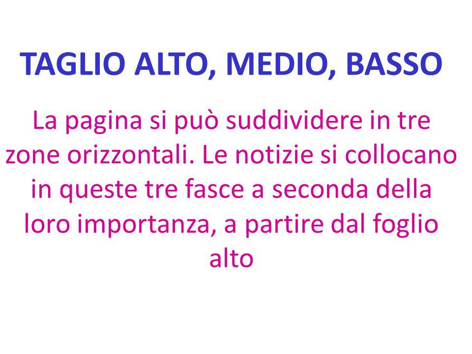 TAGLIO ALTO, MEDIO, BASSO