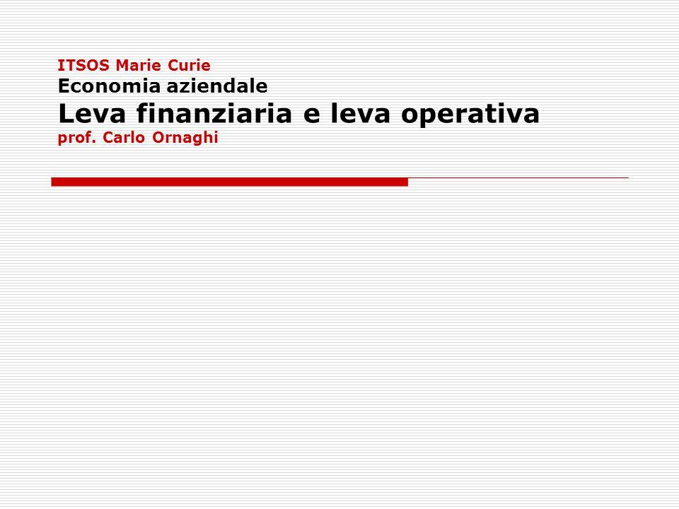 ITSOS Marie Curie Economia aziendale Leva finanziaria e leva operativa prof. Carlo Ornaghi