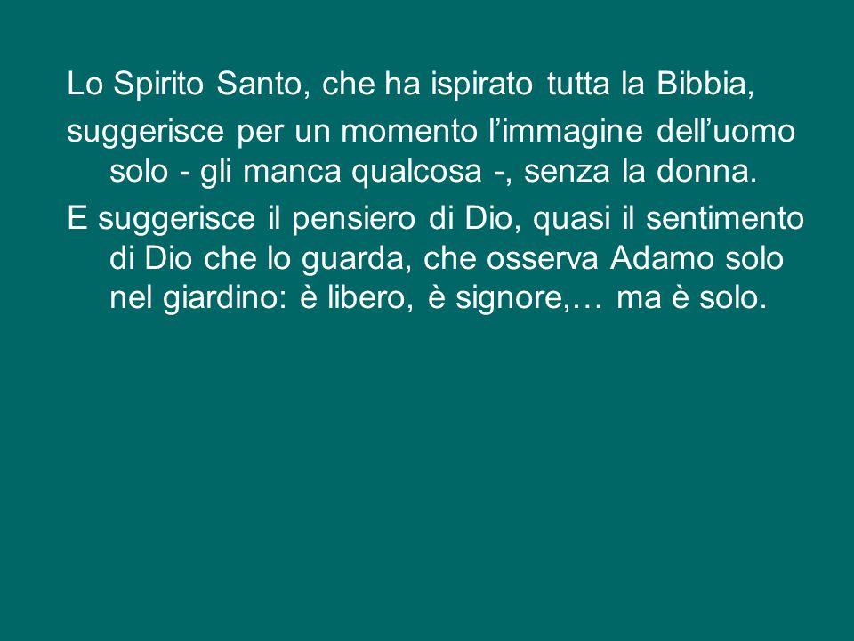 Lo Spirito Santo, che ha ispirato tutta la Bibbia, suggerisce per un momento l'immagine dell'uomo solo - gli manca qualcosa -, senza la donna.