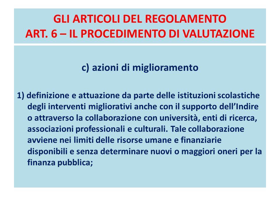 GLI ARTICOLI DEL REGOLAMENTO ART. 6 – IL PROCEDIMENTO DI VALUTAZIONE