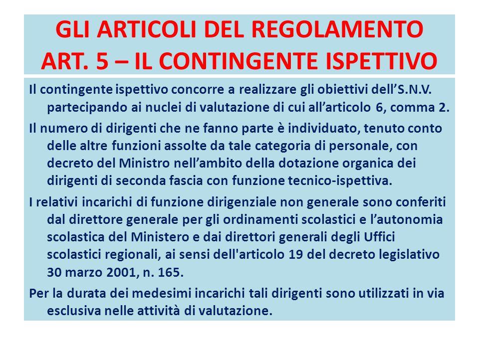 GLI ARTICOLI DEL REGOLAMENTO ART. 5 – IL CONTINGENTE ISPETTIVO