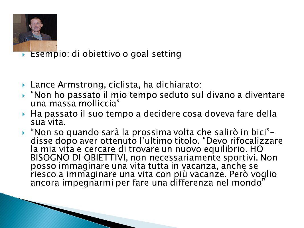 Esempio: di obiettivo o goal setting