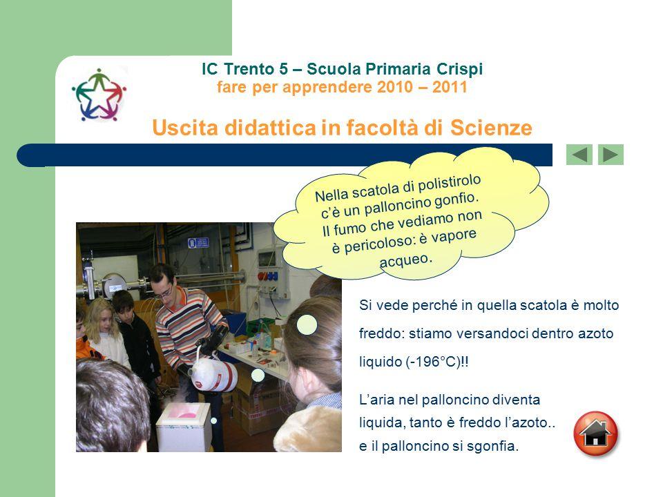 IC Trento 5 – Scuola Primaria Crispi fare per apprendere 2010 – 2011 Uscita didattica in facoltà di Scienze