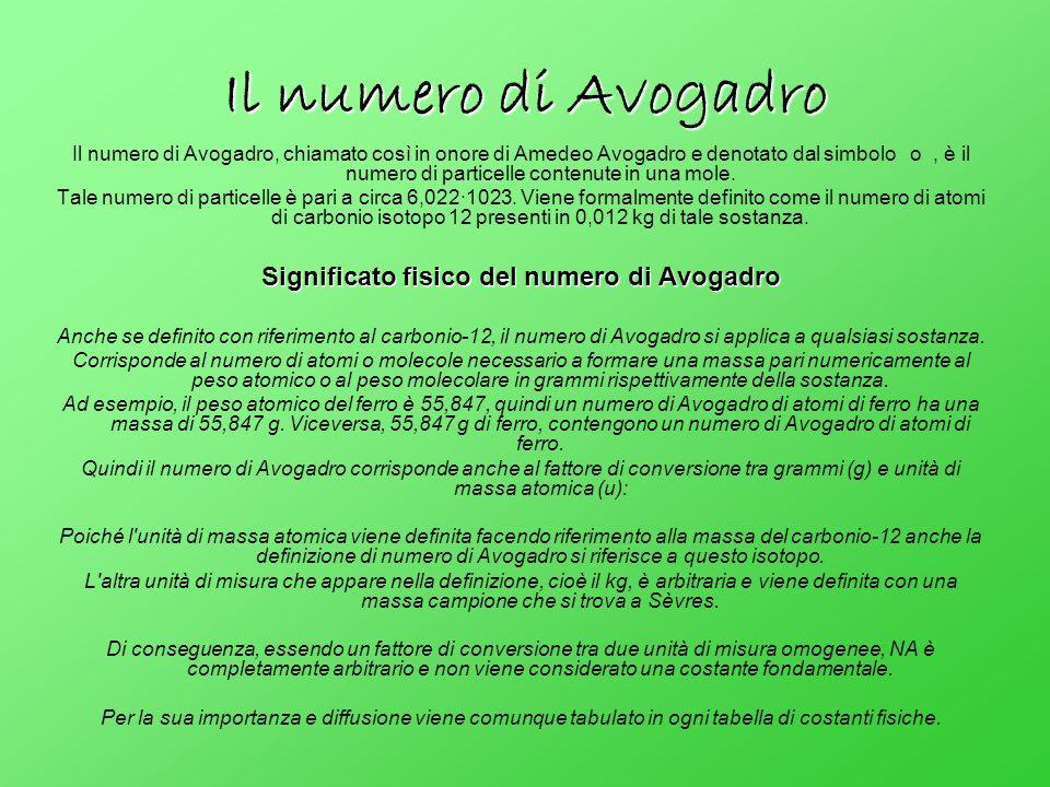 Significato fisico del numero di Avogadro