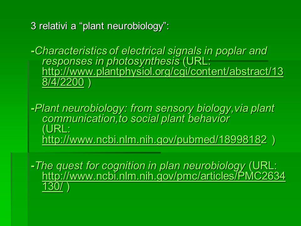 3 relativi a plant neurobiology :