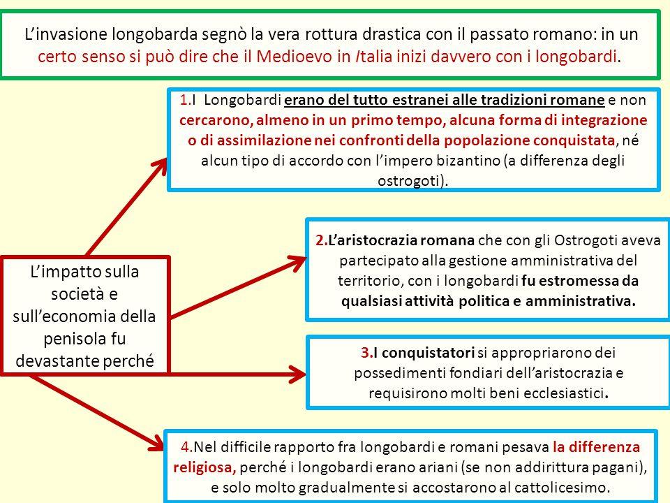 L'invasione longobarda segnò la vera rottura drastica con il passato romano: in un certo senso si può dire che il Medioevo in Italia inizi davvero con i longobardi.