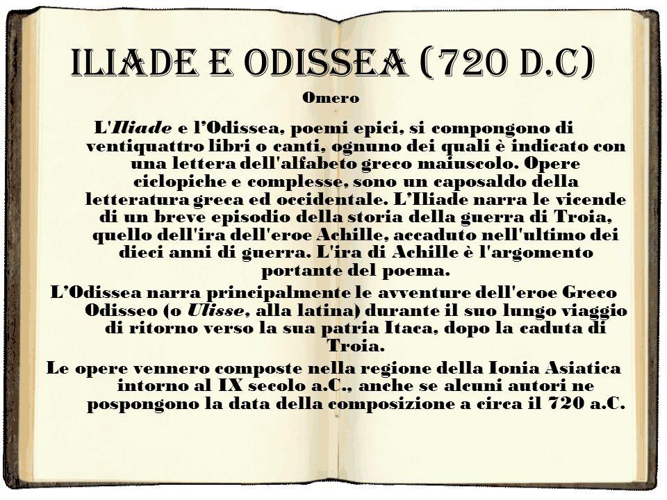 Iliade e Odissea (720 d.c) Omero.