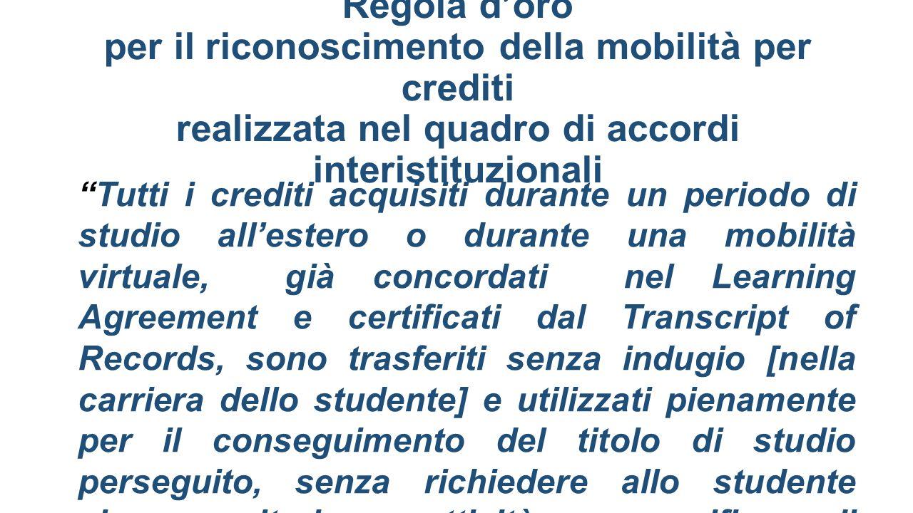 Regola d'oro per il riconoscimento della mobilità per crediti realizzata nel quadro di accordi interistituzionali