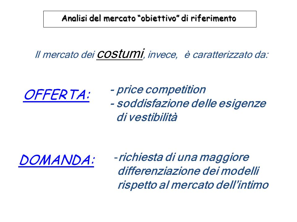 OFFERTA: DOMANDA: - price competition - soddisfazione delle esigenze