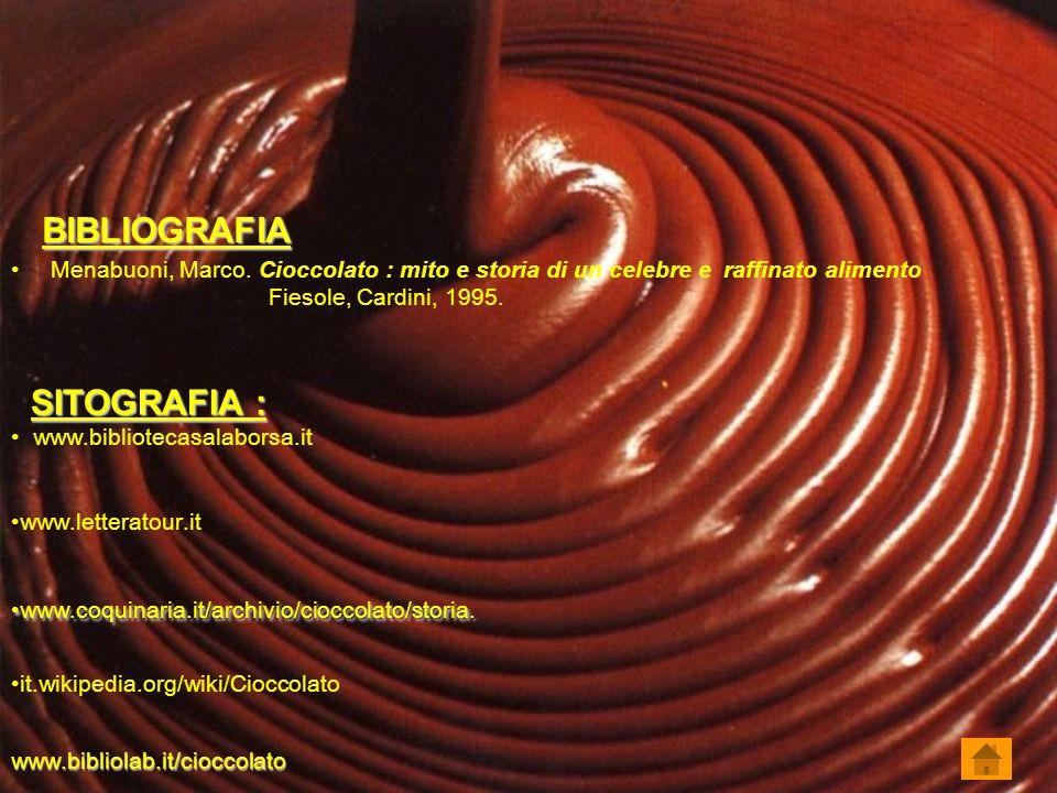 BIBLIOGRAFIA Menabuoni, Marco. Cioccolato : mito e storia di un celebre e raffinato alimento. Fiesole, Cardini, 1995.