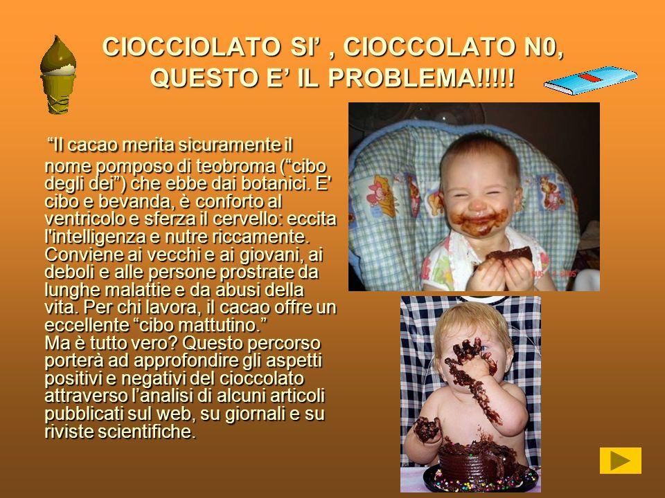 CIOCCIOLATO SI' , CIOCCOLATO N0, QUESTO E' IL PROBLEMA!!!!!