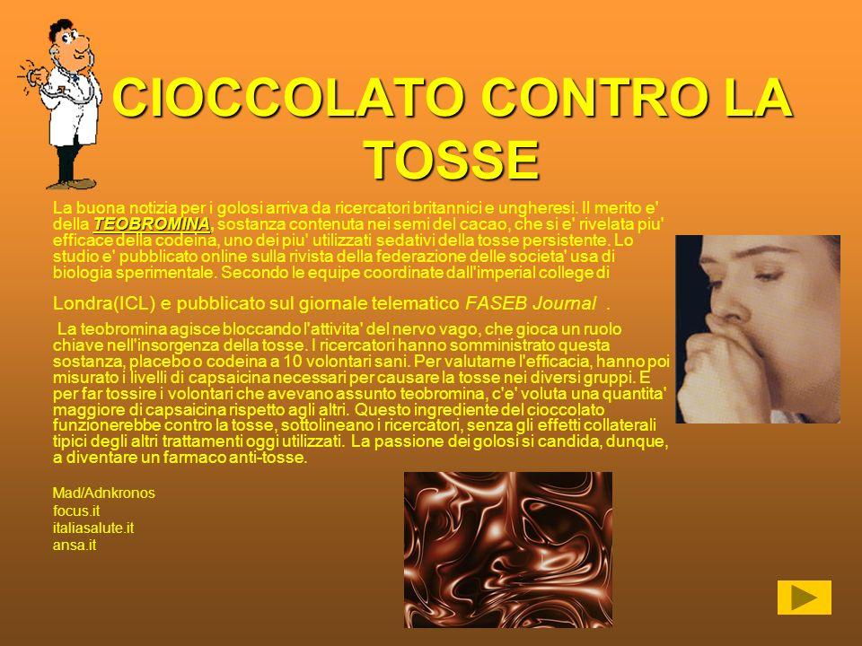 CIOCCOLATO CONTRO LA TOSSE
