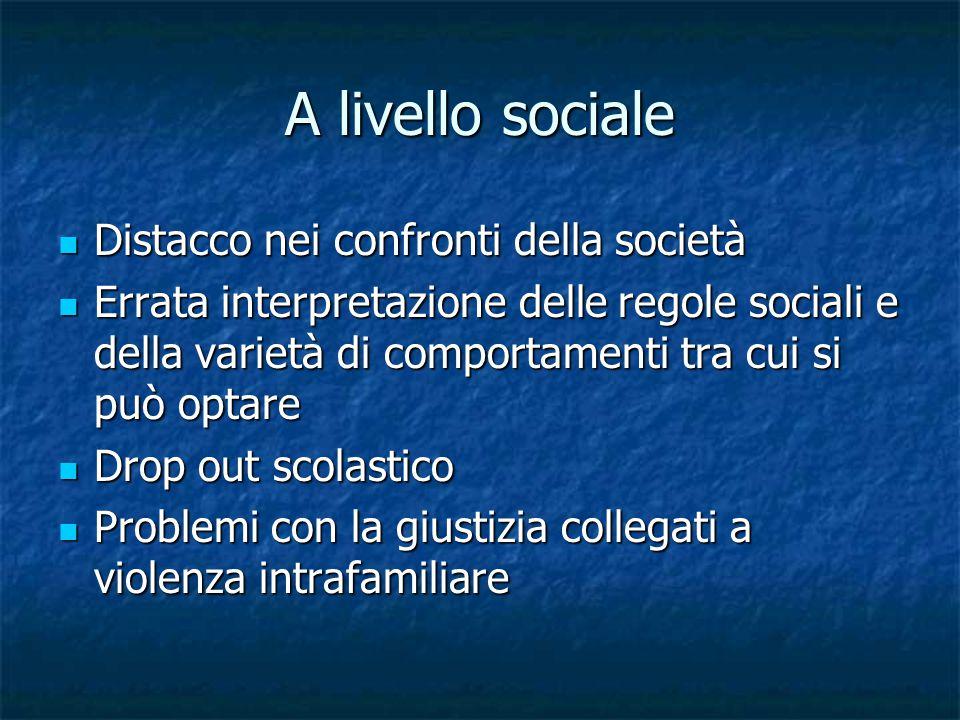 A livello sociale Distacco nei confronti della società