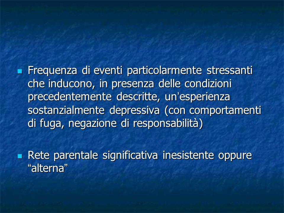 Frequenza di eventi particolarmente stressanti che inducono, in presenza delle condizioni precedentemente descritte, un'esperienza sostanzialmente depressiva (con comportamenti di fuga, negazione di responsabilità)