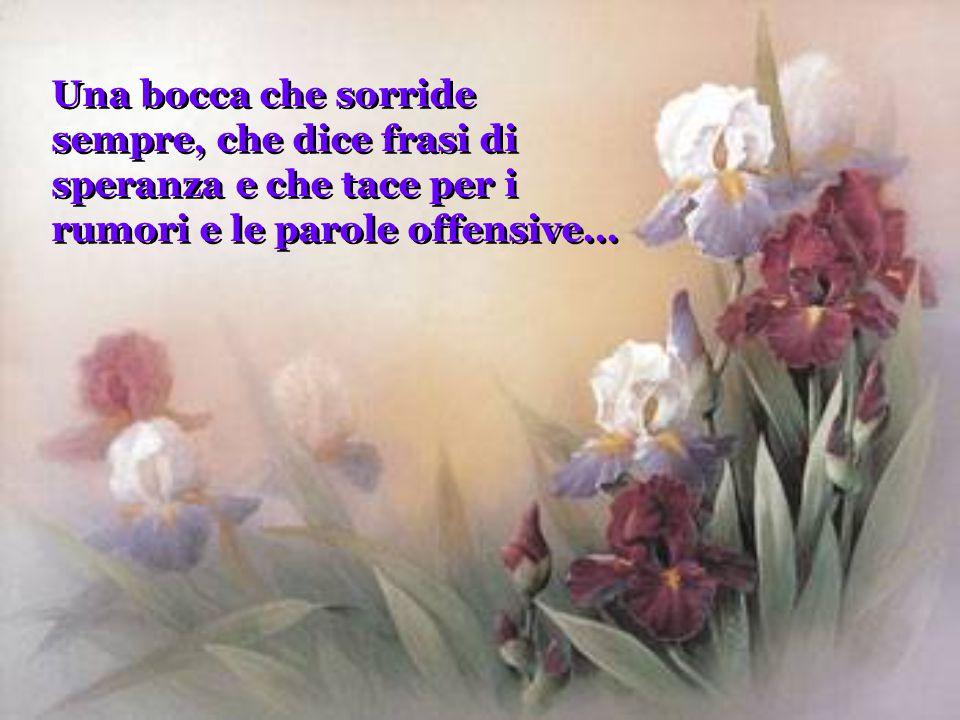 Una bocca che sorride sempre, che dice frasi di speranza e che tace per i rumori e le parole offensive...