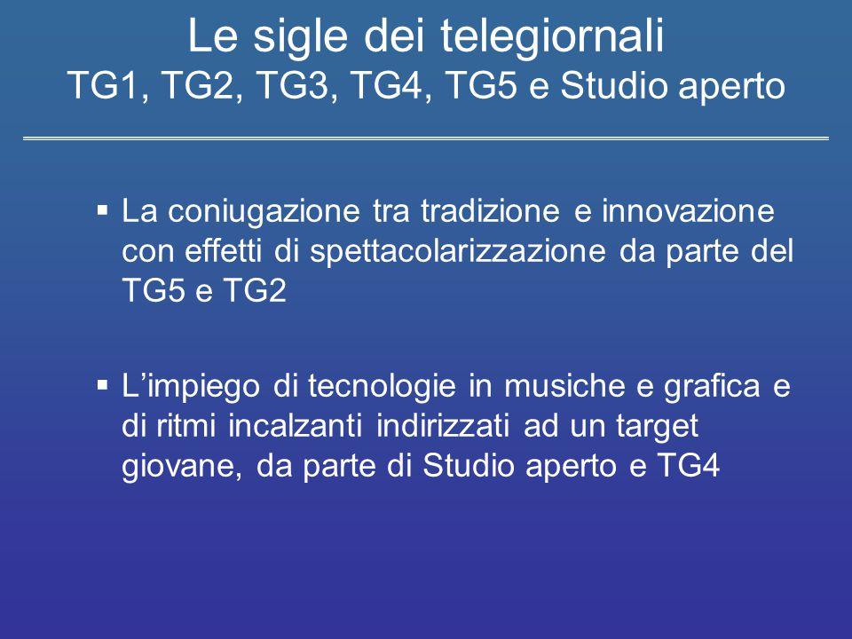 Le sigle dei telegiornali TG1, TG2, TG3, TG4, TG5 e Studio aperto