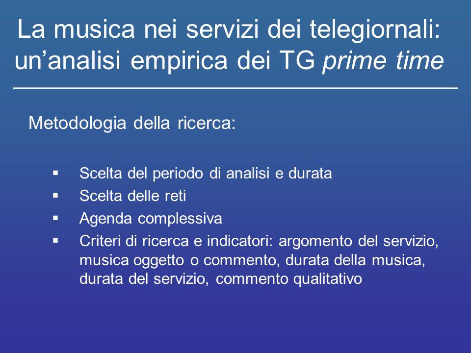 La musica nei servizi dei telegiornali: un'analisi empirica dei TG prime time