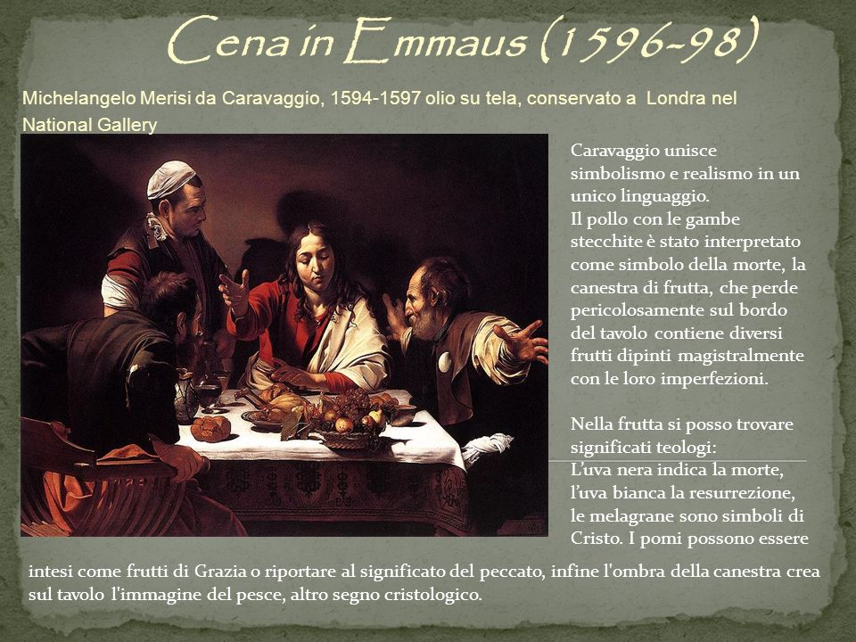 Cena in Emmaus (1596-98) Michelangelo Merisi da Caravaggio, 1594-1597 olio su tela, conservato a Londra nel National Gallery.