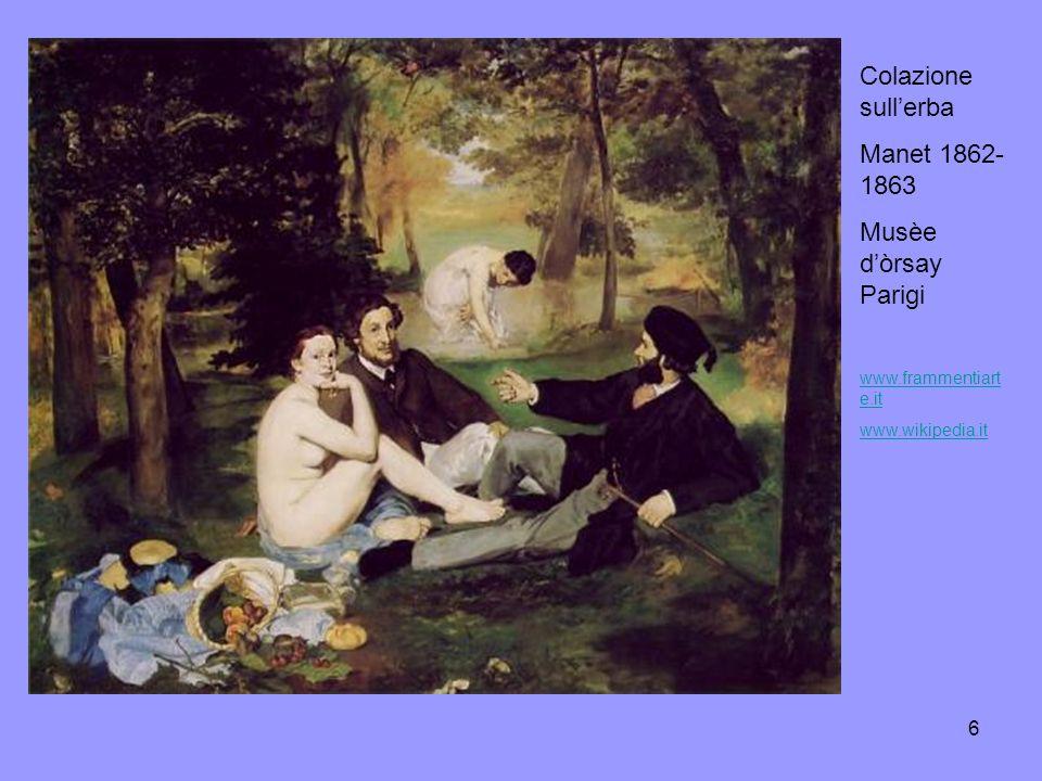 Colazione sull'erba Manet 1862-1863 Musèe d'òrsay Parigi