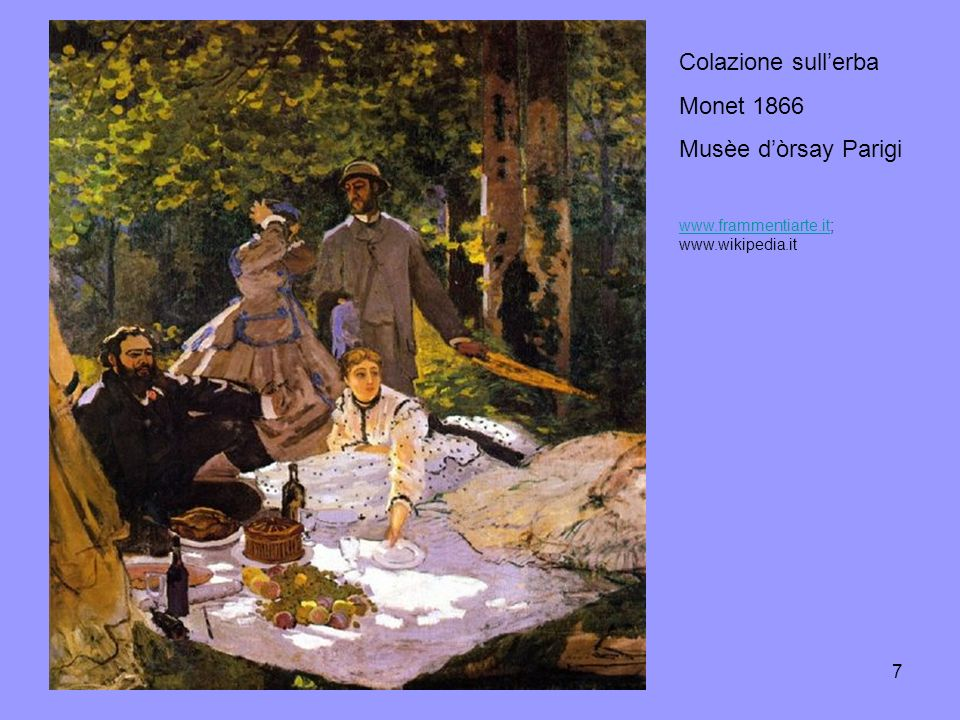 Colazione sull'erba Monet 1866 Musèe d'òrsay Parigi