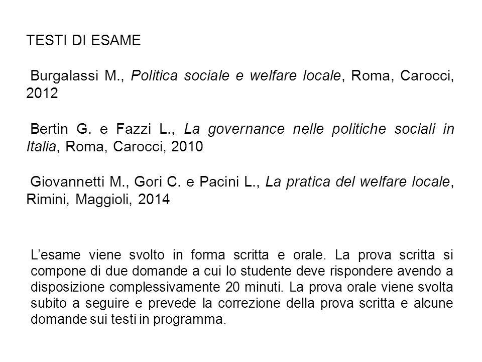 Burgalassi M., Politica sociale e welfare locale, Roma, Carocci, 2012