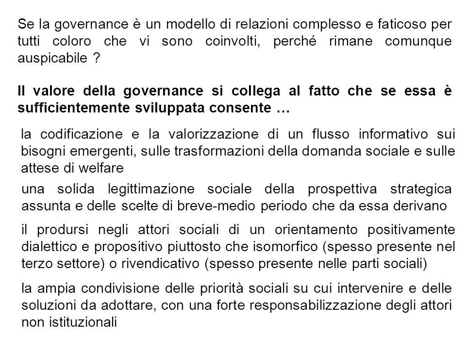 Se la governance è un modello di relazioni complesso e faticoso per tutti coloro che vi sono coinvolti, perché rimane comunque auspicabile