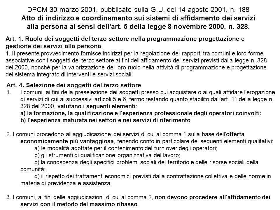 DPCM 30 marzo 2001, pubblicato sulla G.U. del 14 agosto 2001, n. 188