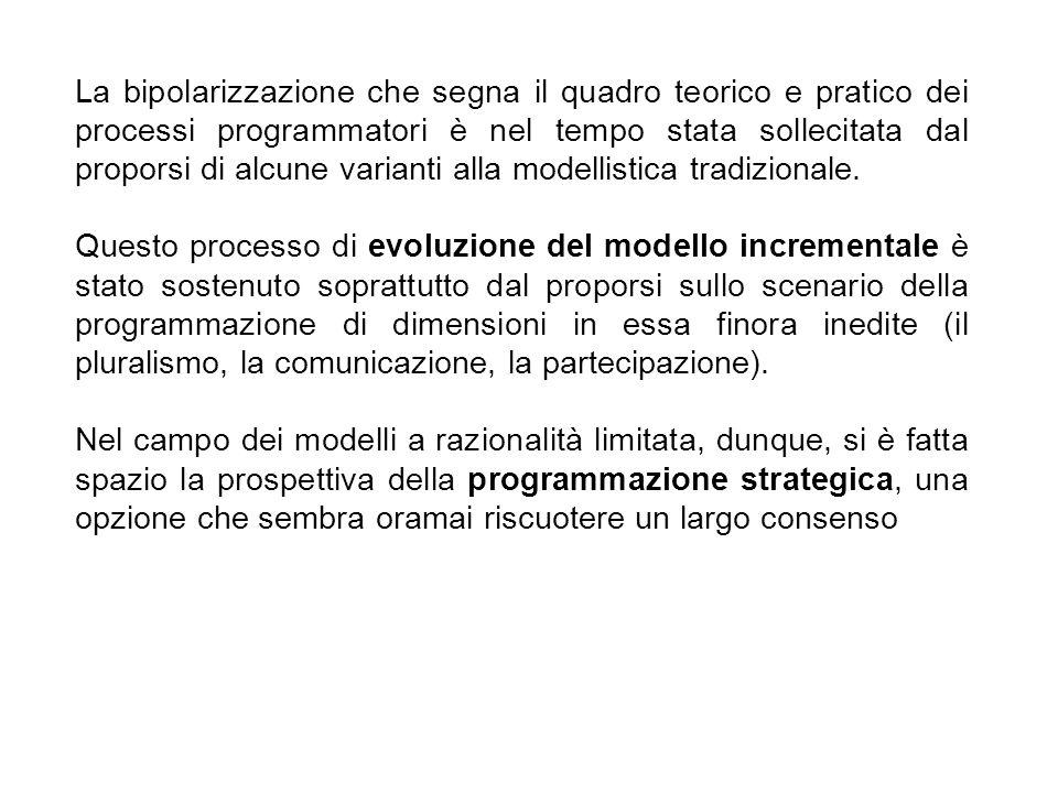 La bipolarizzazione che segna il quadro teorico e pratico dei processi programmatori è nel tempo stata sollecitata dal proporsi di alcune varianti alla modellistica tradizionale.