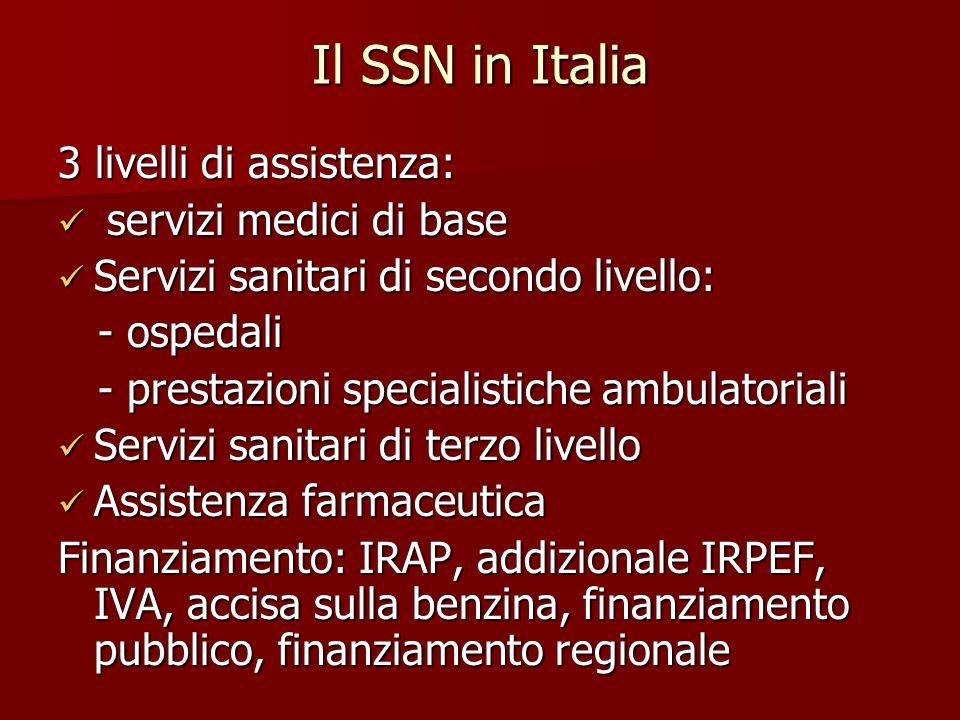 Il SSN in Italia 3 livelli di assistenza: servizi medici di base