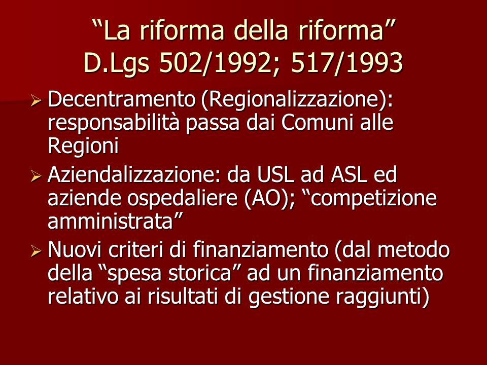 La riforma della riforma D.Lgs 502/1992; 517/1993