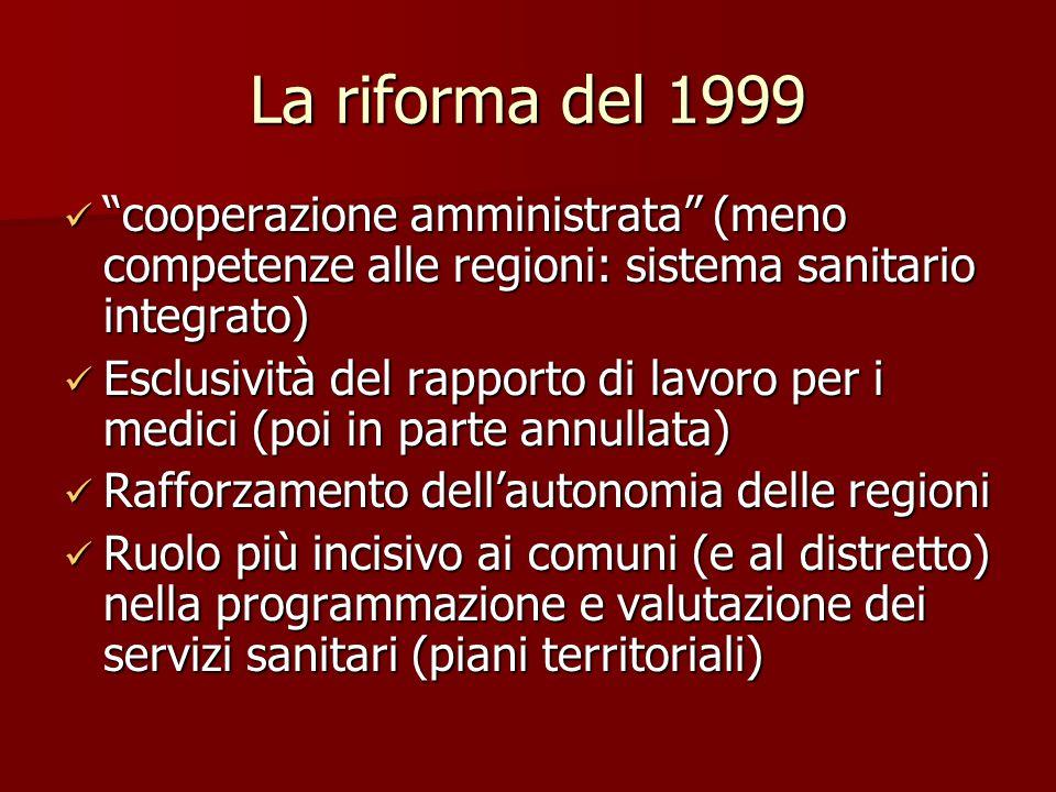 La riforma del 1999 cooperazione amministrata (meno competenze alle regioni: sistema sanitario integrato)