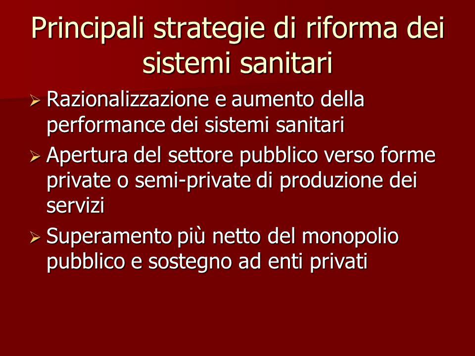 Principali strategie di riforma dei sistemi sanitari