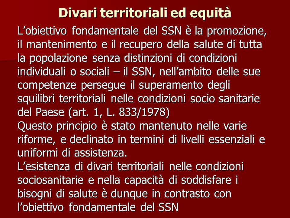 Divari territoriali ed equità