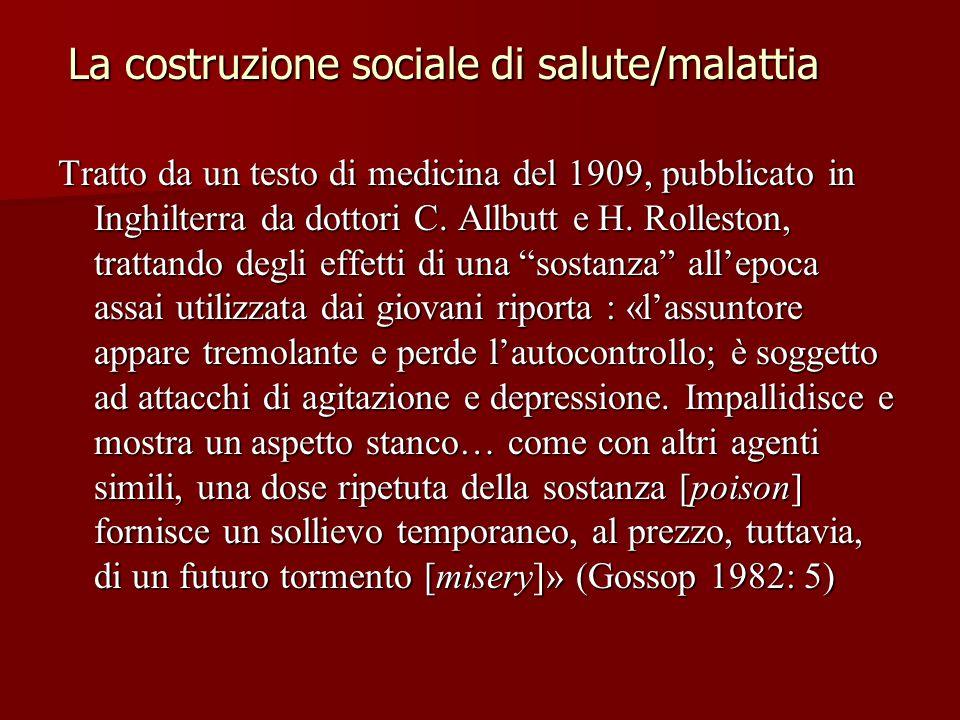 La costruzione sociale di salute/malattia