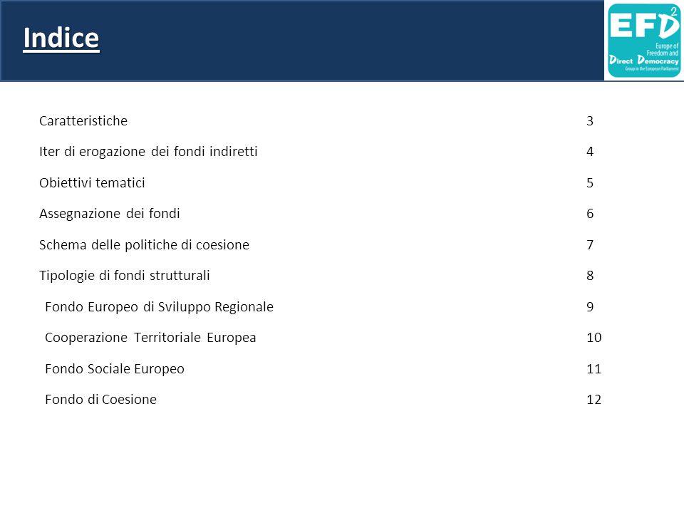Indice Caratteristiche 3 Iter di erogazione dei fondi indiretti 4