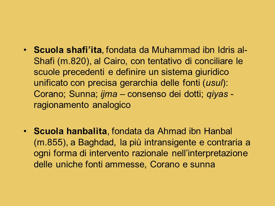 Scuola shafi'ita, fondata da Muhammad ibn Idris al-Shafi (m