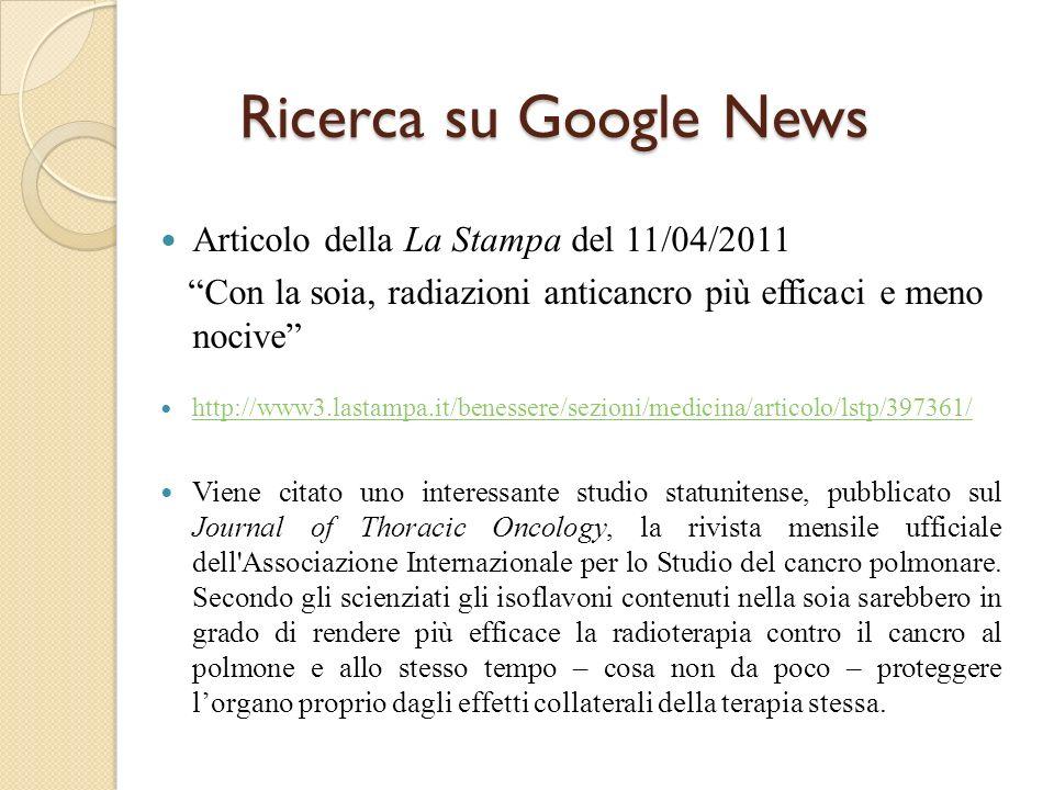 Ricerca su Google News Articolo della La Stampa del 11/04/2011