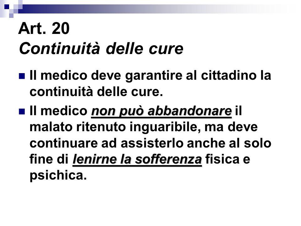 Art. 20 Continuità delle cure