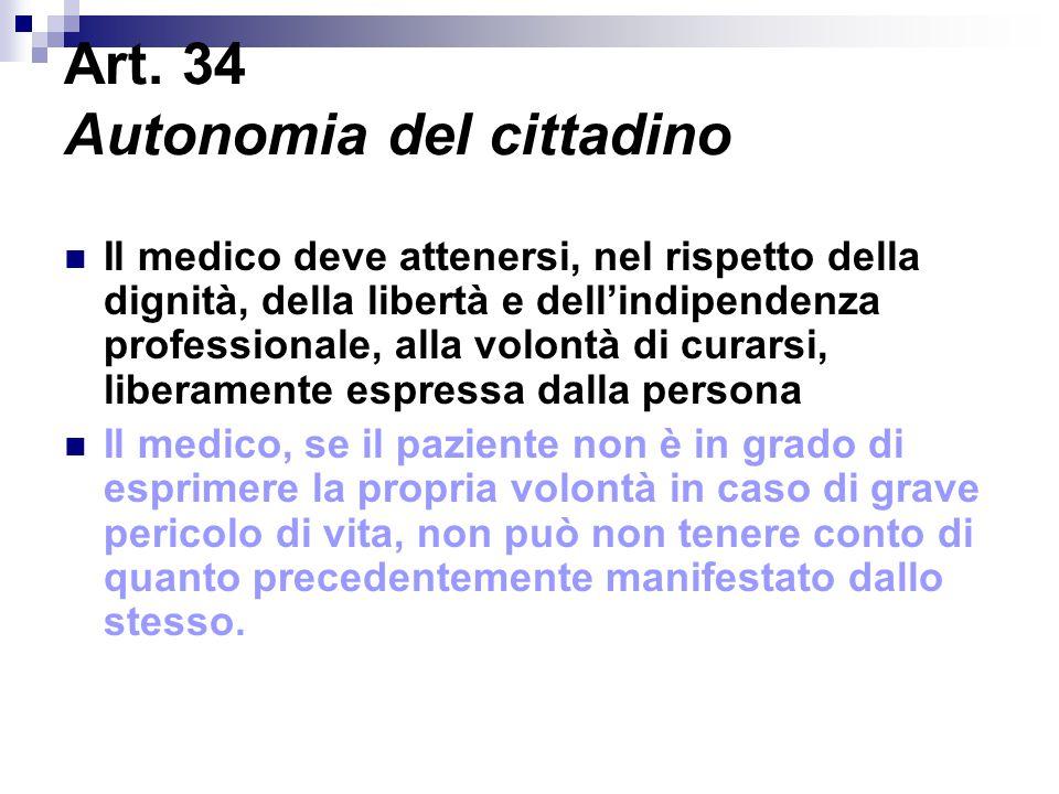 Art. 34 Autonomia del cittadino