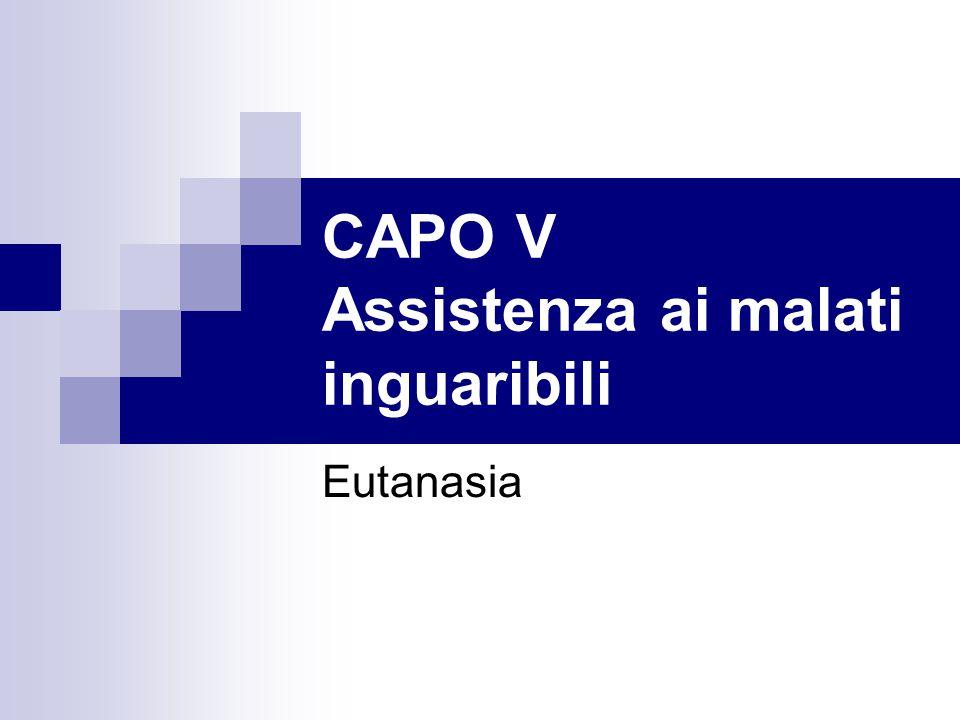 CAPO V Assistenza ai malati inguaribili
