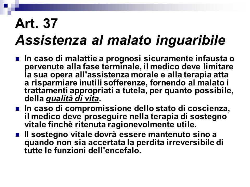 Art. 37 Assistenza al malato inguaribile
