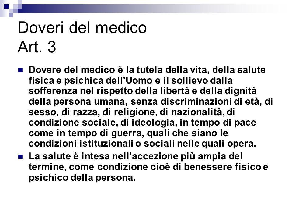 Doveri del medico Art. 3