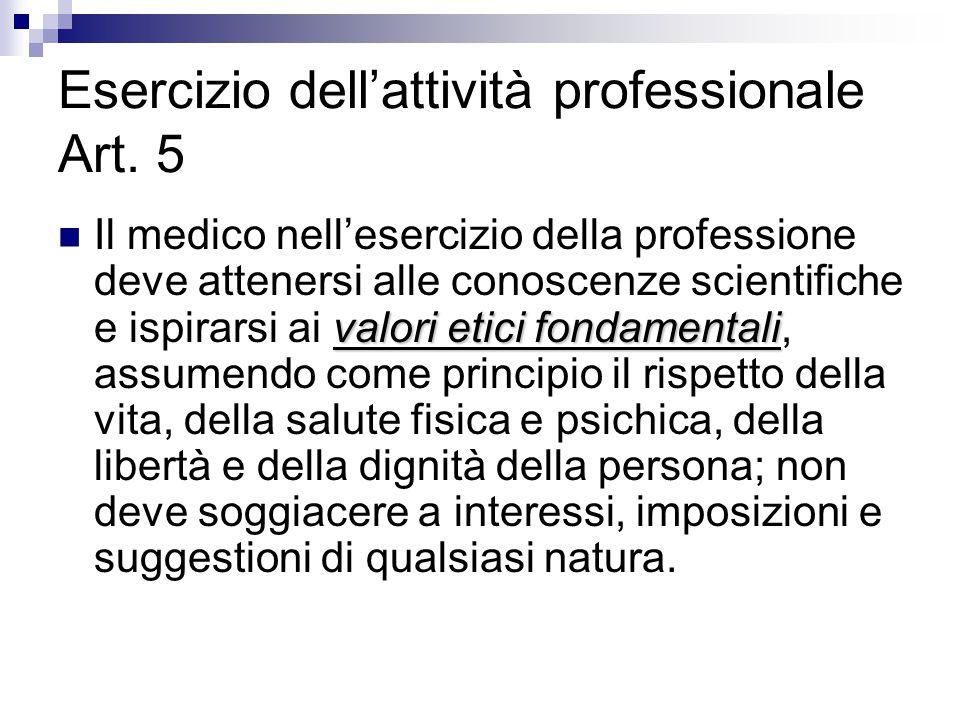 Esercizio dell'attività professionale Art. 5