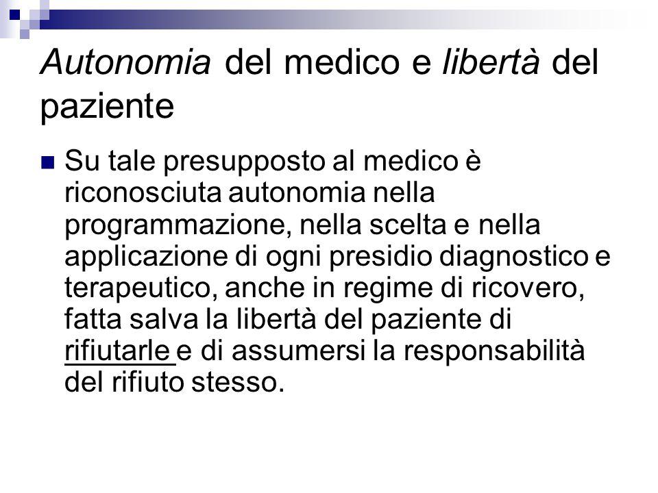 Autonomia del medico e libertà del paziente