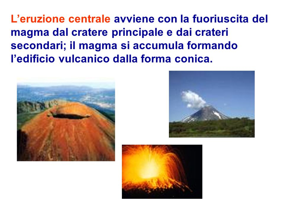 L'eruzione centrale avviene con la fuoriuscita del magma dal cratere principale e dai crateri secondari; il magma si accumula formando l'edificio vulcanico dalla forma conica.